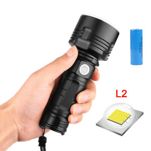 100000LM XHP70 LED Flashlight Rechargeable 3 Modes Torch 26650 Waterproof HE