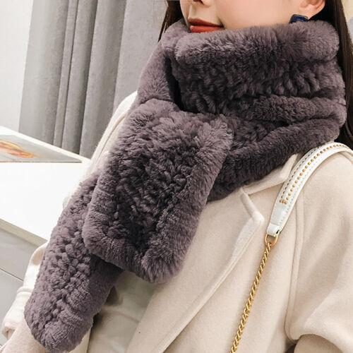 100/% Real Genuine Rex Rabbit fur Knit scarf Fur Scarves Winter shawl Fur Collar