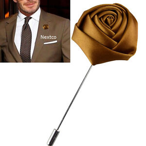 7f53af256a6 Image is loading Lapel-Flower-Camellia-Boutonniere-Stick-Brooch-Pin-Men-