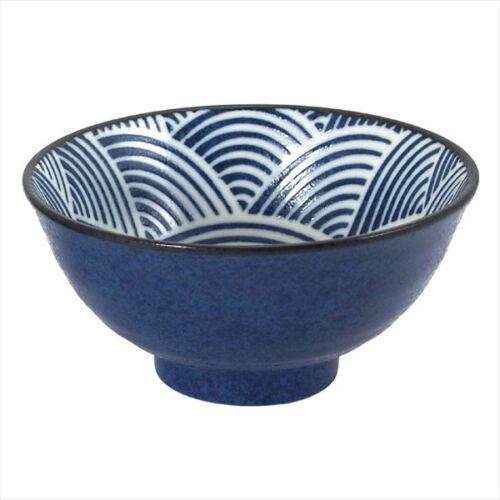 "SET of 2 Japanese Rice Soup Bowls 6.25/""D Porcelain SEIKAIHA Wave Made in Japan"