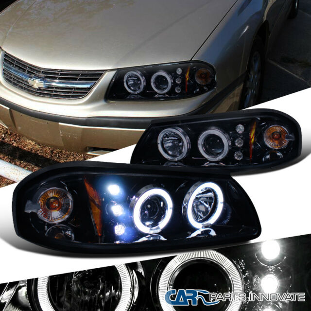 Glossy Black Chevy 00 05 Impala Replacement Tinted Led Halo Projector Headlights