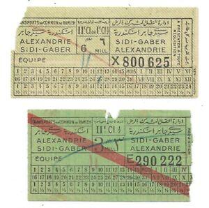 EGYPT-ALEXANDRIA-SIDI-GABER-Tram-Bus-vintage-tickets-1940s-2-items-RAMLEH