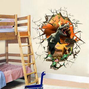 Dinosaur 3D Wall Sticker Kids Boys Bedroom Mural Wallpaper Decor ...
