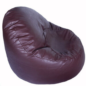 Faux-Leather-Light-Chocolate-Brown-Oval-Chair-Bean-Bag-with-Filling