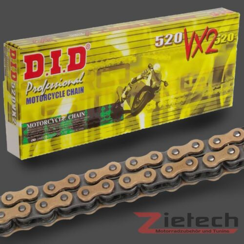 Clipschloss X-Ring 520 VX2 116 Glieder Gold-Schwarz DID Motorrad Kette Offen