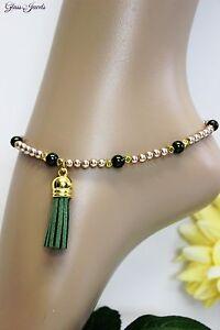 Constructive Glass Jewels Gold Fußkettchen Perlen Boho Hippie Quaste Länge 27,5 Cm #k024 Fashion Jewelry