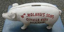 SUPERB HEAVY CAST IRON PIGGY BANK MONEY BOX Wm MOLAND'S SONS QUAKER CITY HAMS
