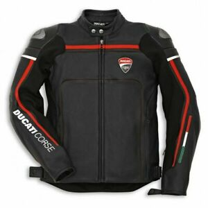 Ducati-Corse-Black-Motorbike-Jacket-Cowhide-Leather-All-sizes