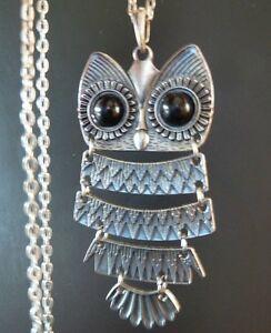 Large-Vintage-Style-Antique-Silver-Art-Deco-Owl-Necklace