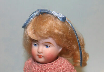 Penny Light Brown Mohair wig for antique bisque German French Mignonette doll