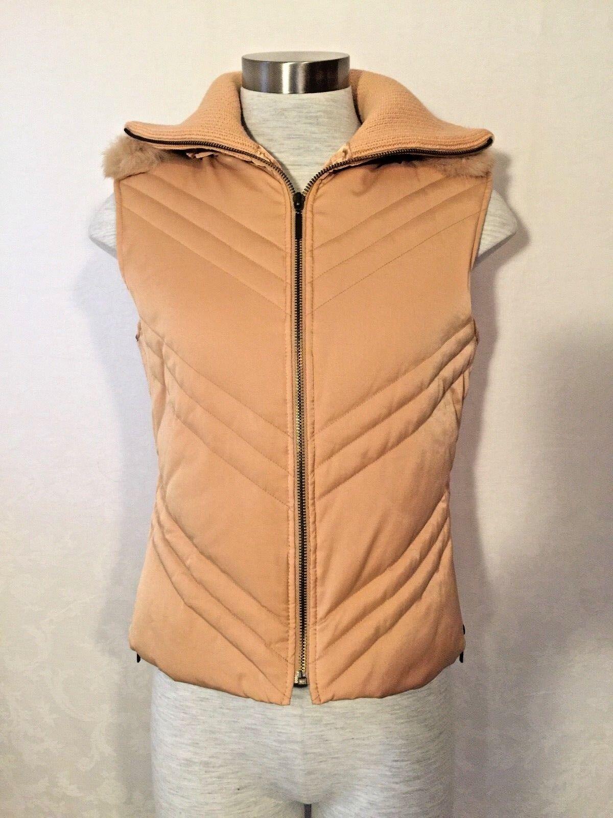 NWOT Bebe Vest 100% Rabbit Fur Down Feather Soft Pale Peach Zipper Size LARGE