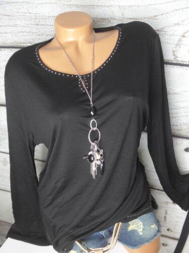 34-40 schwarz mit Pailletten NEU Aniston Viskose Shirt Gr 487