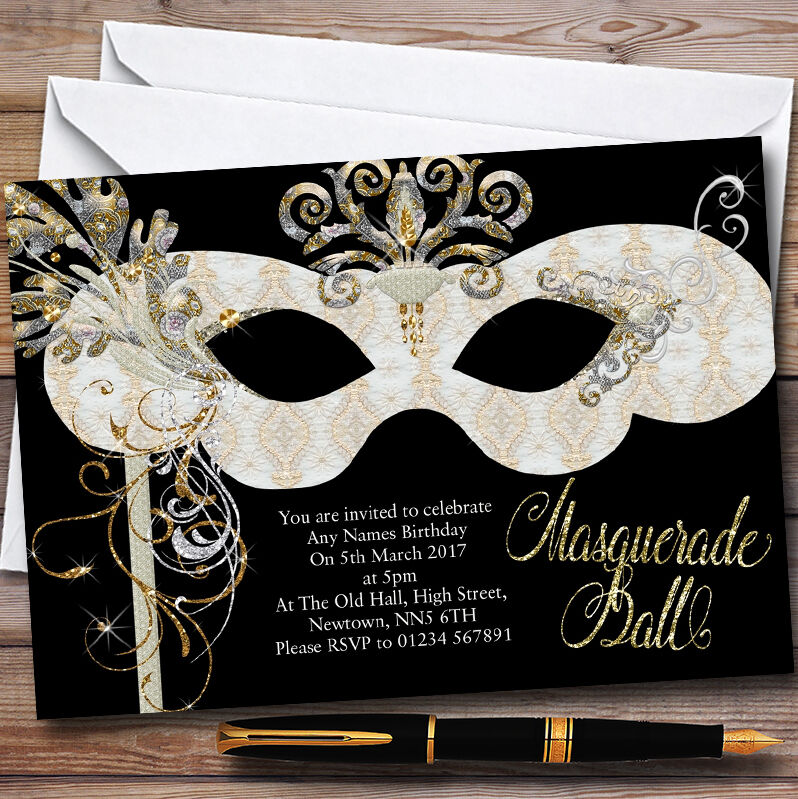 Weiß & Gold Masquerade Ball Personalised Party Invitations