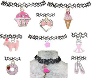 PINK-Stretch-Choker-Tattoo-Necklace-Pendant-Henna-Vintage-Charm-Cupcake-Puppy