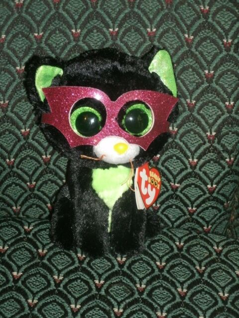 "Ty Beanie Boo 6"" JINXY * black CAT with MASK * 2014 * Mint/Mint/Tag * RARE * HTF"