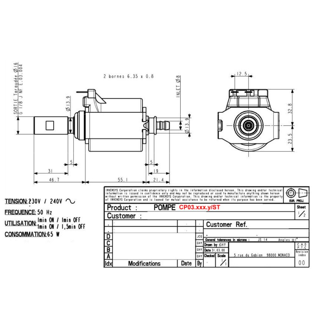 ars    invensys cp3a  st vibratory pump 230v  65w  50hz coffee espresso machine