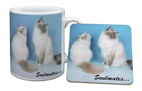 Birman Cats 'Soulmates' Mug+Coaster ChristmasBirthday Gift Idea, SOUL6MC