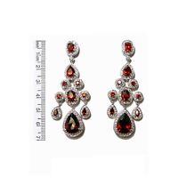 Ruby Red Cz Chandelier Bridal Earrings 70mm