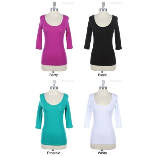 Double Tied Back 3//4 Sleeve Top with Keyhole Scoop Neck Solid Plain Cotton Span