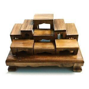 SET of 9 mini Altar Teak wood Thai Buddha amulet Tables worship Free ...