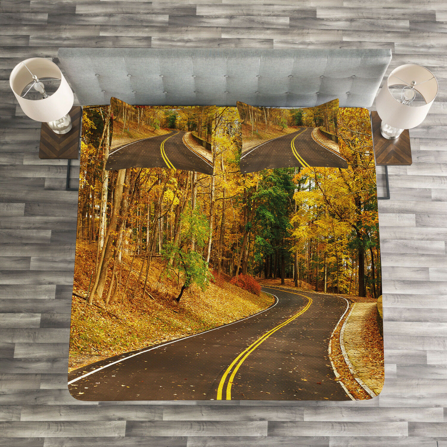 Fall Quilted Bedspread & Pillow Shams Set, Autumn Scenery Roadway Print