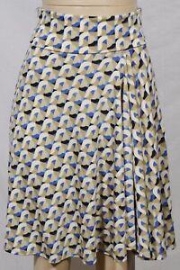 MAX-STUDIO-Ivory-Tan-Beige-Blue-Black-Patterned-Skirt-XS-Foldover-Waist-Unlined