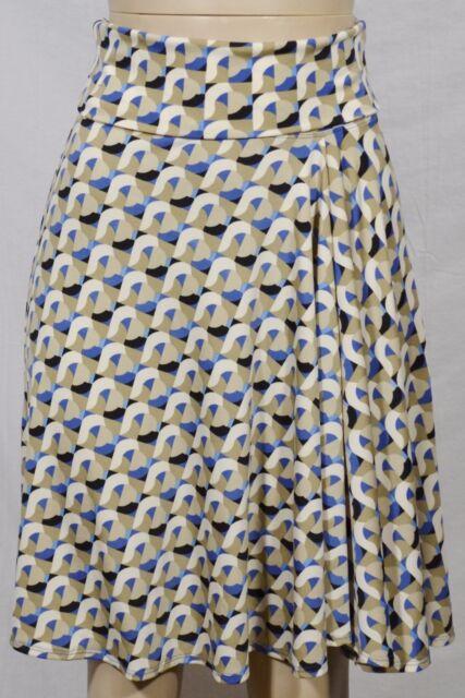 MAX STUDIO Ivory Tan Beige Blue Black Patterned Skirt XS Foldover Waist Unlined