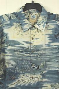Don-Ray-Collection-Kahala-Mens-Sz-2X-Large-Hawaiian-Blue-Sky-Fish-Region-Shirt