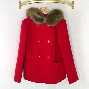 Kate-Spade-New-York-Red-Faux-Fur-Wool-Double-Breasted-Coat-Size-Small