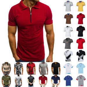 Men-039-s-Polo-Dress-Shirts-Summer-Short-Sleeve-T-Shirt-Golf-Casual-Tops-Tee-Sports