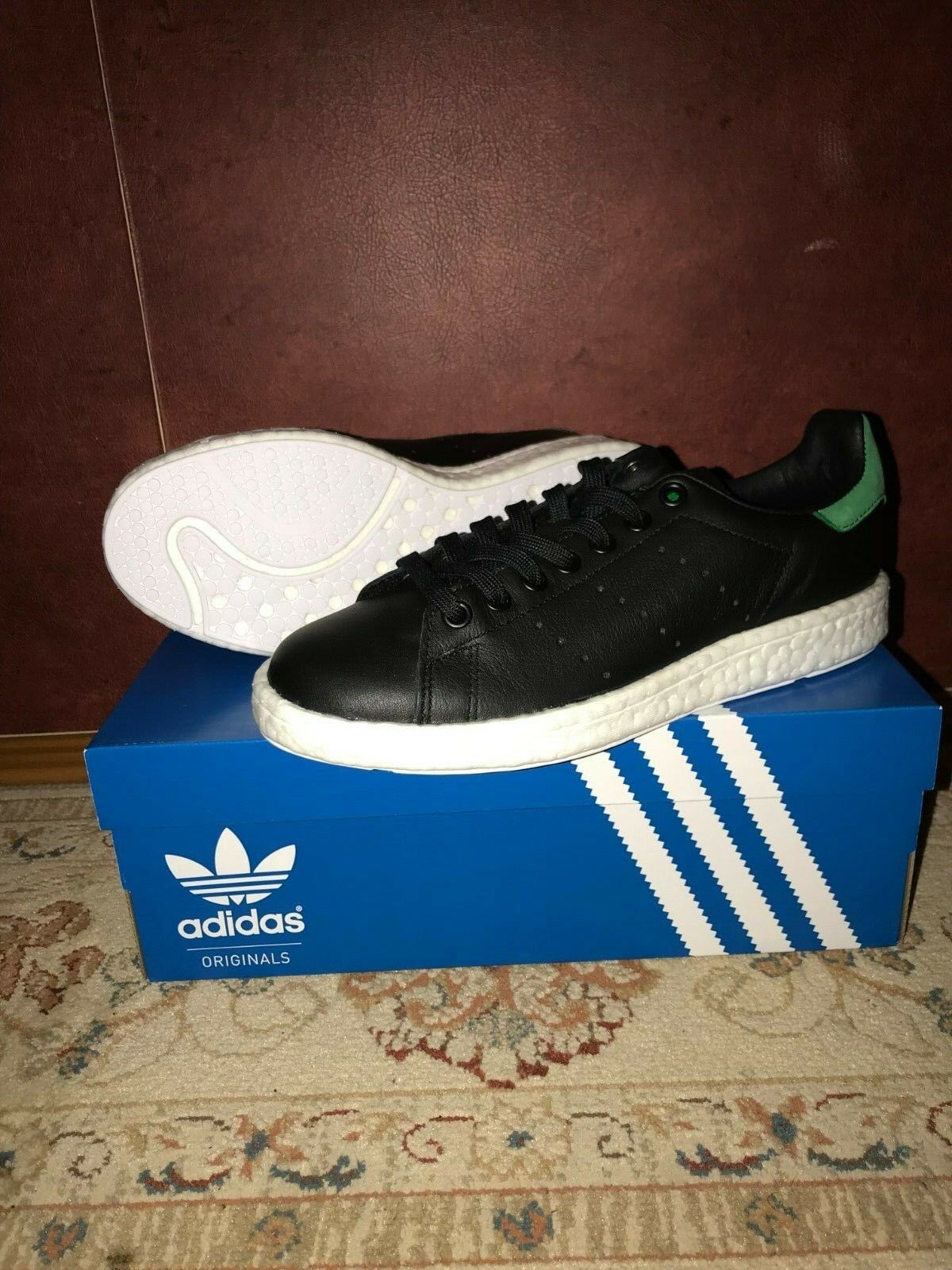 Adidas Originals Stan Smith Boost Core Black Green BB0009 SZ US 6.5-7