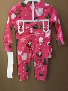 b51a8edf7 Girls 24 Months Fleece Flannel Christmas 2pc Pajamas NEW NWT Pink ...