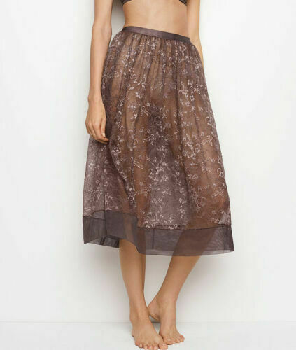 $68 Victorias Secret VerySexy Sheer Floral Lace Midi Skirt See Through Small New