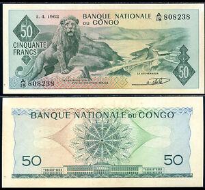 CONGO-50-FRANCS-1962-P-5-AUNC