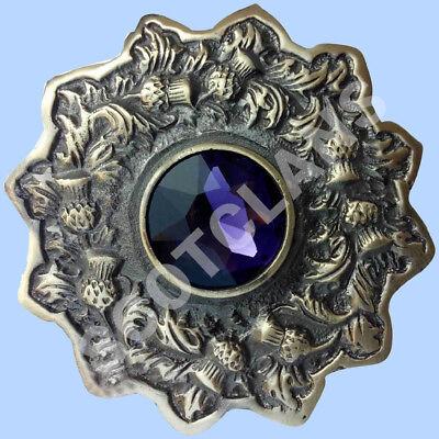 "Scottish Kilt Fly Plaid Brooch Blue Stone 4/"" Celtic Pin Brooches Antique Finish"