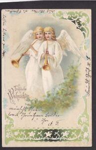 Greetings-Germany-CHRISTMAS-Angels-used-1900-u-b-PPC
