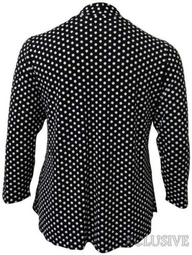New Womens Plus Size Waterfall Polka Dot Print Cardigan Top 14-28