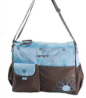 Carter's Baby Changing Mat Pad Diaper Nappy Bag Mummy Handbag Brown/Blue +Purse
