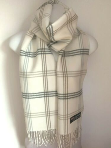 Best Holiday gift NEW Tan Beige Camel Check Stripes Plaid 100/% Cashmere scarf
