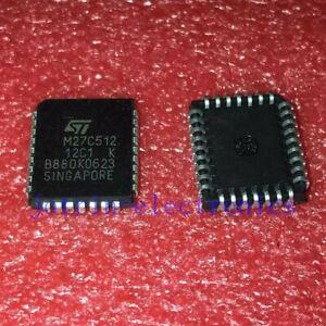 2-piezas-M27C512-12C1-Plastico-con-plomo-Chip-carrier-32-512-kbit-64K-x8-y-Otp-Eprom-Uv-Eprom