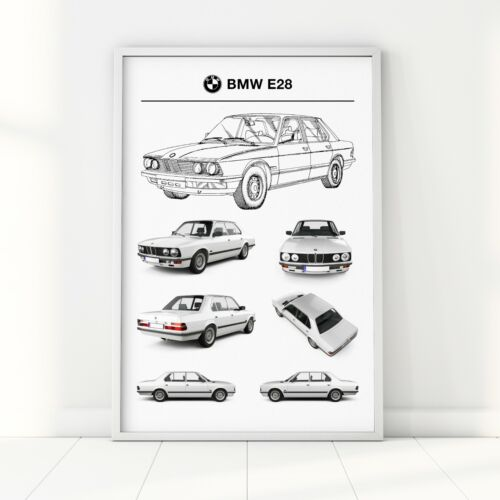 BMW 5 E28 Car Poster A2 A3 A6 1987 Retro Vintage Auto Patent Wall Art Print