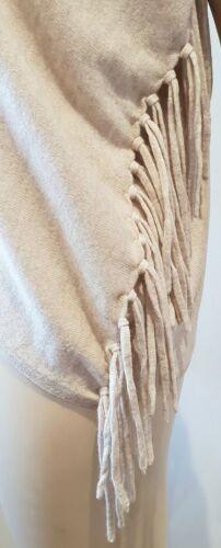 MAX & MOI BEIGE Merino Wool & Cachemire Manica Corta Cardigan Con Frange Top 38 UK8