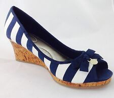 Plus Size Womens Blue/White Stripe Wedge Sandals size UK 10 W PLUS SIZE