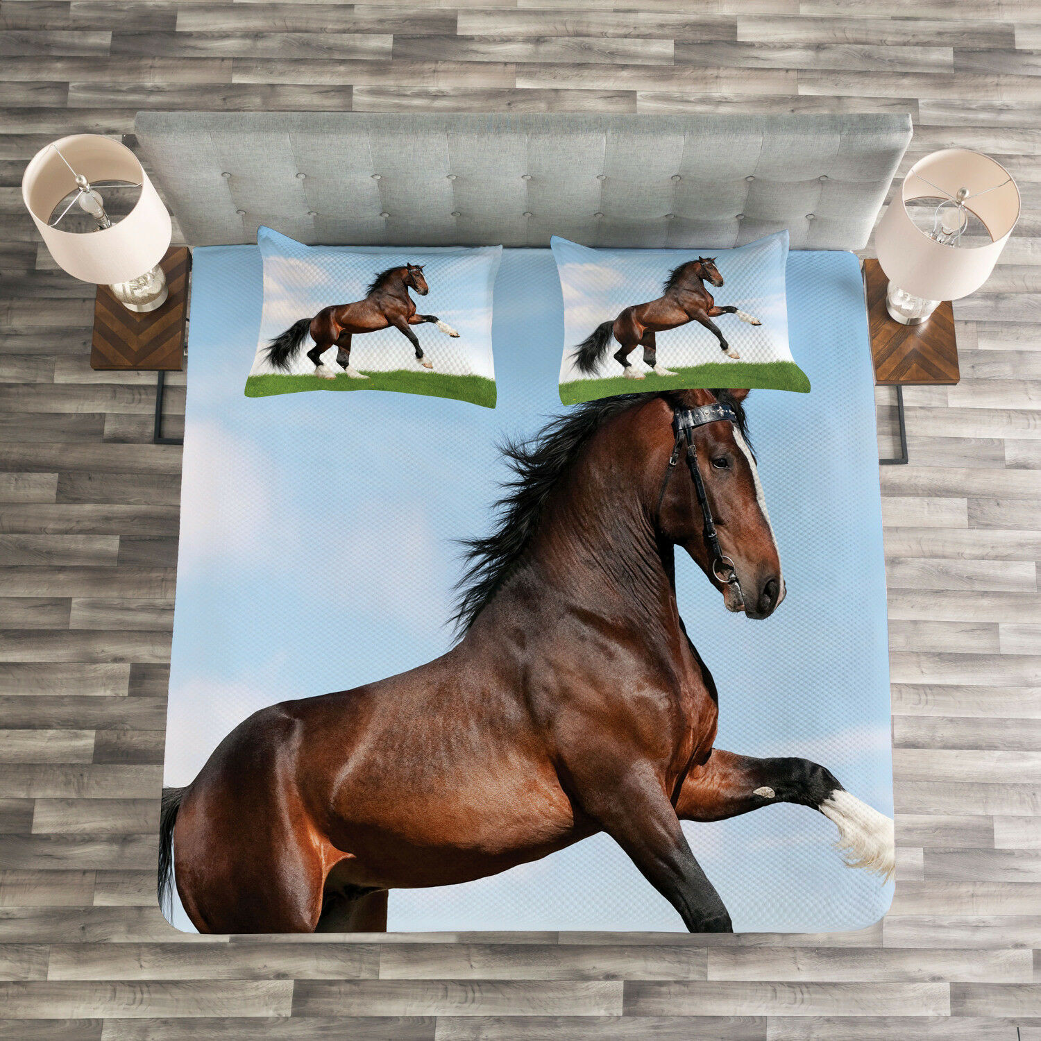 Nature Quilted Bedspread & Pillow Shams Set, Horse Pacing on Grass Print
