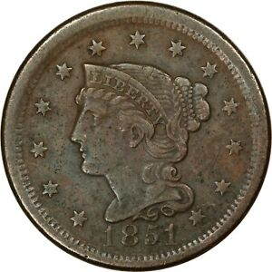 1851, 1c, Large Cent - Braided Hair - Higher Grade - Collectors Coin
