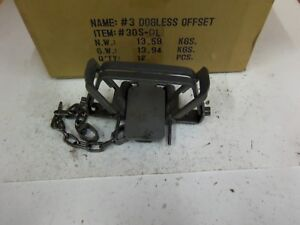 3 Bridger # 2 Dogless Offset 4-COIL Spring Foothold Traps Coyote Fox Trapping