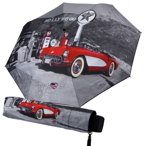 Regenschirm Minischirm Motiv Hollywood Nostalgie Manuellöffnung Grau Rot