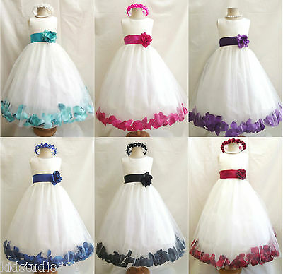 IVORY FUCHSIA PINK ROSE PETAL WEDDING BIRTHDAY PARTY PAGEANT FLOWER GIRL DRESS