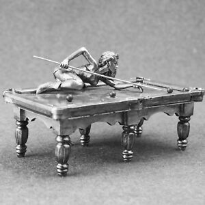 Toy-Soldiers-Figure-Sexy-Girl-Playing-Billiard-54mm-Female-1-32-scale-Metal