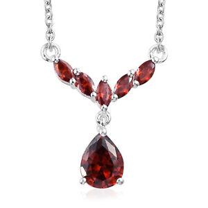 925-Sterling-Silver-Cubic-Zirconia-CZ-Garnet-Necklace-Women-Jewelry-18-034-Ct-3-1